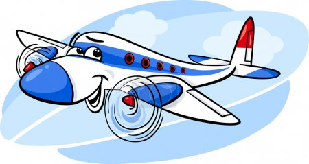 Illustration for Cartoon Illustration of Funny Plane Comic Mascot Character - Royalty Free Image