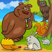 Lesní divoká zvířata kreslená skupina
