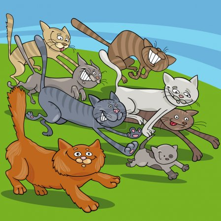 running cats cartoon illustration