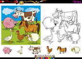 Cartoon Illustrations of Cute Farm Animals Characters Group for Coloring Book with Elements Set