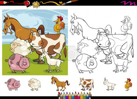 Cartoon Illustrations of Funny Farm Animals Charac...