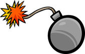 Cartoon Illustration of Bomb with Fuse Clip Art