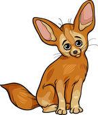 Cartoon Illustration of Cute Fennec Fox Animal