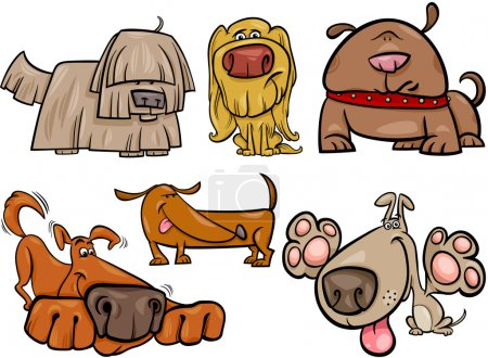 funny dogs set cartoon illustration