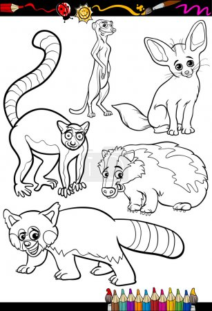 Illustration for Coloring Book or Page Cartoon Illustration Set of Black and White Wild Animals Characters for Children - Royalty Free Image