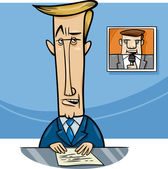 Cartoon Illustration of Television Speaker or Broadcaster on the Air