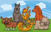 Cartoon Illustration of Cute Dogs Characters Group
