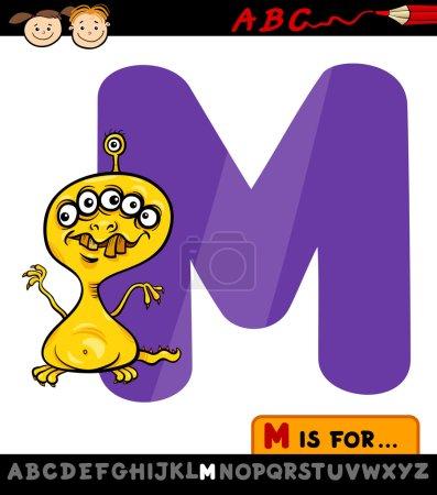 Letter m with monster cartoon illustration