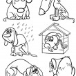 Coloring Book or Page Cartoon Illustration of Blac...