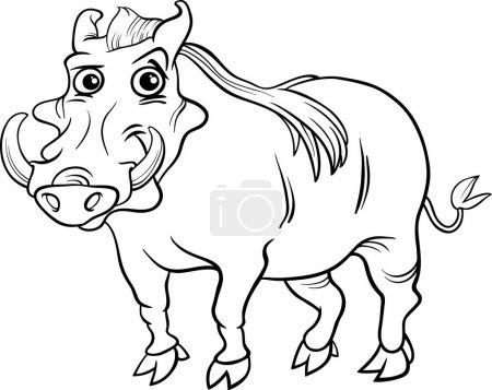 Illustration for Black and White Cartoon Illustration of Funny Warthog Animal for Coloring Book - Royalty Free Image