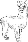 Black and White Cartoon Illustration of Funny Alpaca Farm Animal for Coloring Book
