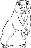Black and White Cartoon Illustration of Funny Gopher Animal for Coloring Book