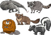 Cartoon Illustration of Funny Wild Animals Characters Set