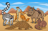 Cartoon Illustrations of Funny African Mammals Animals Mascot Characters Group