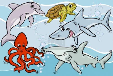 Photo pour Illustrations de dessins animés de Funny Sea Life Animals and Fish Mascot Characters Group - image libre de droit
