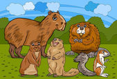 Cartoon Illustrations of Funny Rodents Mammals Animals Mascot Characters Group