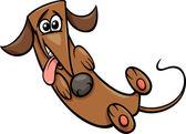 Roztomilý šťastný pes kreslený obrázek