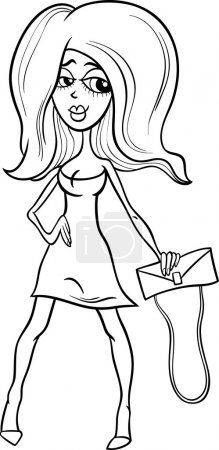 black and white gorgeous woman cartoon