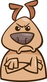 Cartoon Illustration of Funny Dog Expressing Angry Mood or Emotion