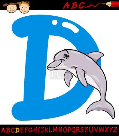 Letter d for dolphin cartoon illustration