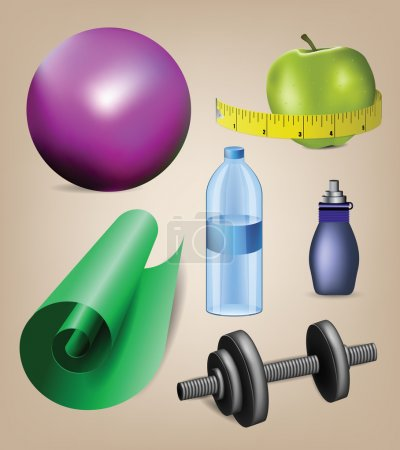 Realistic fitness icons