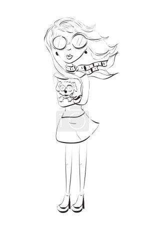 Fashion Girl Sketch. Clip-art, Illustration....