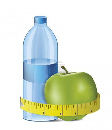 Apple With Measuring Tape and Fresh Bottle of Water