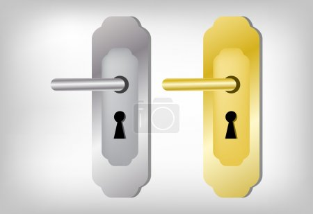 Illustration for Collection of two latches, Door handle set - Royalty Free Image