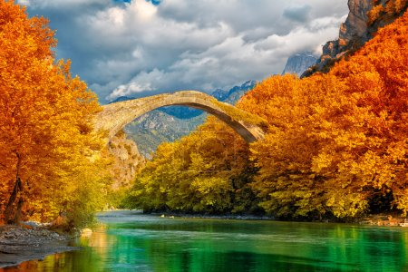 Photo for Overcast landscape of Konitsa bridge and Aoos River, Greece. - Royalty Free Image