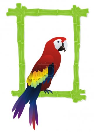 Illustration for Green bamboo frame with tropical bird parrot inside - Royalty Free Image