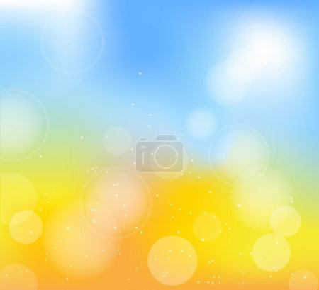 Illustration for Autumn frame with blur yellow and blue background - Royalty Free Image