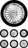 Vector pack of six car wheels models isolated on white