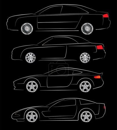 Illustration pour Illustration vectorielle abstraite de différentes silhouettes de voiture - image libre de droit