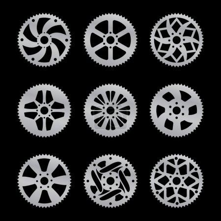 Illustration for Vector pack of nine bike rear sprocket - Royalty Free Image
