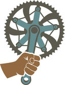We got the power badge illustration with a bike chainring and fist