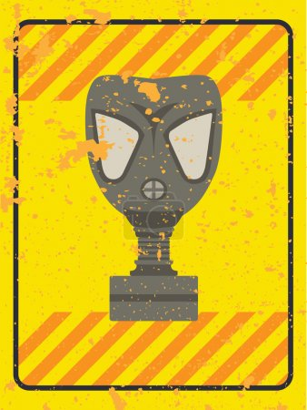 Illustration for Vector grunge sign with a gas mask and warning stripes - Royalty Free Image