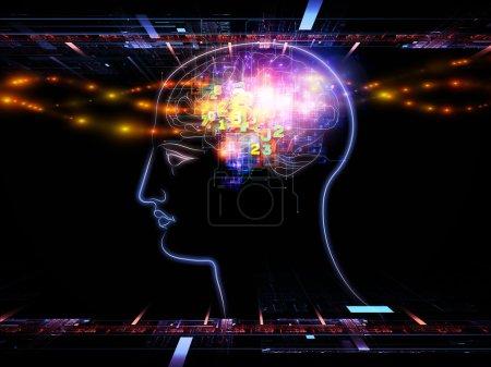 Photo pour Interaction des contours de la tête, les lumières et les éléments de conception abstraite sur le thème de l'intelligence, conscience, pensée logique, les processus mentaux et puissance du cerveau - image libre de droit