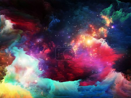 Photo for Dreamscape Series. Design made of colorful fractal paint and lights to serve as backdrop for projects related to art, abstraction and creativity - Royalty Free Image