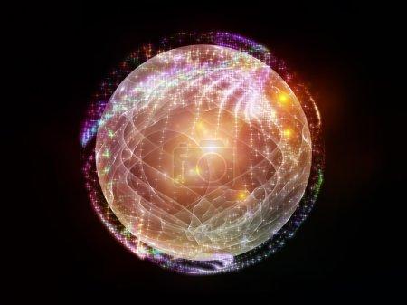 Photo pour Série de fractale de sphère. agencement créatif des éléments de fractal sphériques et circulaire comme une métaphore de la notion sur le sujet d'abstraction, de graphisme et de la technologie moderne - image libre de droit