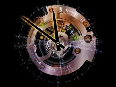 Photo for Clockwork Series. Composition of clock gears, numbers and fractal elements with metaphorical relationship to time, modernity, science and technology - Royalty Free Image