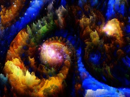 Photo pour Jamais série Mondes. Arrangement créatif de mondes fractaux dimensionnels colorés comme métaphore conceptuelle sur le sujet de la fantaisie, des rêves, de la créativité, de l'imagination et de l'art - image libre de droit