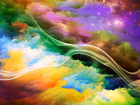 Photo for Dreamscape Series. Backdrop composed of colorful fractal paint and lights and suitable for use in the projects on art, abstraction and creativity - Royalty Free Image