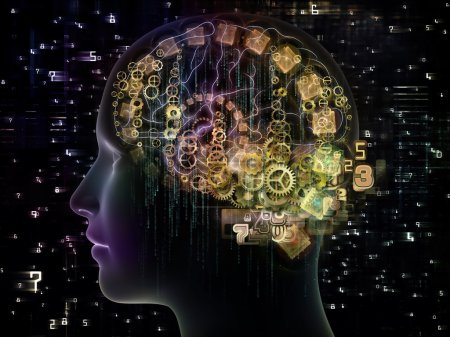 Photo for Design made of outline of human head and symbolic elements to serve as backdrop for projects related to knowledge, science, technology and education - Royalty Free Image
