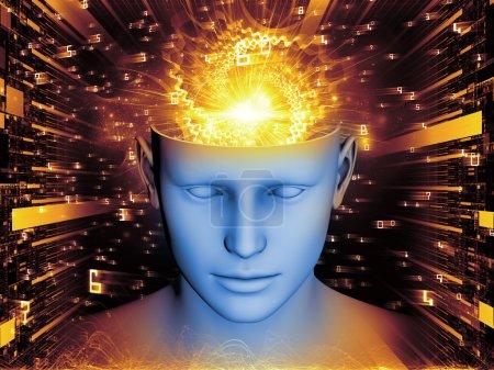Photo pour Abstraction artistique composée de tête humaine et d'éléments symboliques sur le sujet de l'esprit humain, la conscience, l'imagination, la science et la créativité - image libre de droit