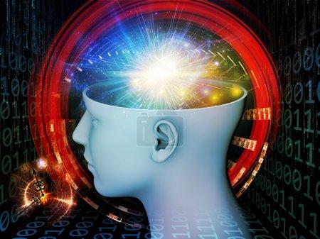 Photo pour Arrangement abstrait de la tête humaine et des éléments symboliques appropriés comme arrière-plan pour des projets sur l'esprit humain, la conscience, l'imagination, la science et la créativité - image libre de droit
