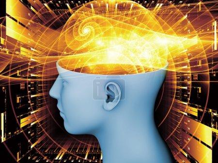 Photo pour Composition de la tête humaine et des éléments symboliques pour servir de toile de fond aux projets sur l'esprit humain, la conscience, l'imagination, la science et la créativité - image libre de droit