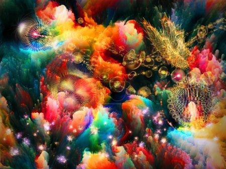Photo pour Interaction de formes fractales colorées et de formes sur le thème de l'imagination, de la créativité et du design . - image libre de droit