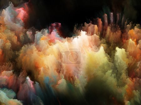 Photo pour Composition de turbulences fractales colorées appropriées comme toile de fond pour les projets sur la fantaisie, les rêves, la créativité, l'imagination et l'art - image libre de droit
