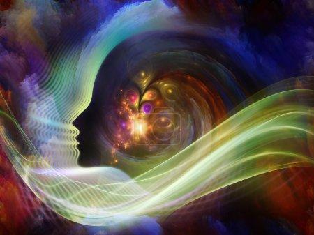 Photo pour Géométrie de l'âme série deux. Disposition du profil humain et des éléments abstraits au sujet de la spiritualité, de la science, de la créativité et de l'esprit humain - image libre de droit