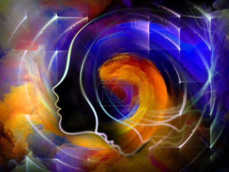 Photo for Geometry of the Soul series two. Background design of human profile and abstract elements on the subject of spirituality, science, creativity and the mind - Royalty Free Image